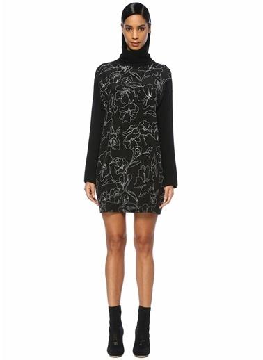 Beymen Collection Balıkçı Yaka Çiçekli Mini Triko Elbise Siyah